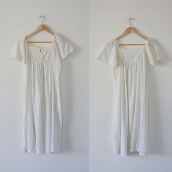 1960's vintage white gauzy cotton dress, boho hippie dress, India prairie tent dress