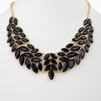 Black Enamel Leaf Bib Statement Neckalce/Earring Set