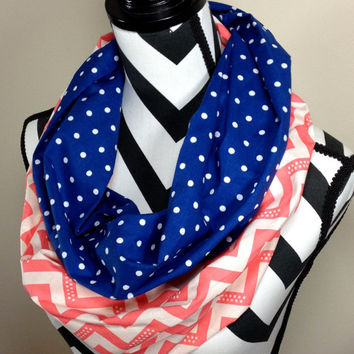 Coral and Navy Scarf, Coral and Blue Scarf, Chevron Scarf, Polka Dot Scarf, Tube Scarf, Loop Scarf
