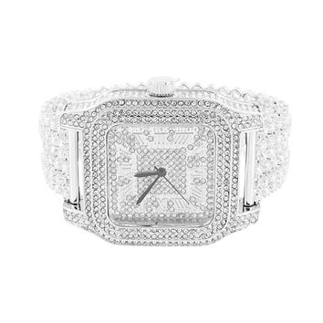 Mens White Square Watch Fully Iced Out Elegant Joe Rodeo Jojo