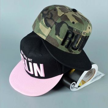 Camo Run Letter Snapback Baseball Cap Camouflage Hip Hop Hat For Men Women Outdoor Sports Street Dance Fashion Aba Reta Pink