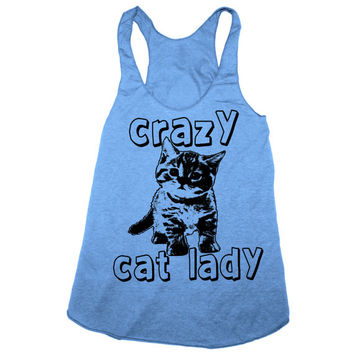 CRAZY CAT LADY Tank Top S M L (Athletic Blue)