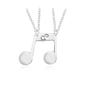 2pcs/set Mucis Note Pendant Necklaces Personalized Design Best Friend Necklace Couple Music Necklace Simple Fashion Jewelry