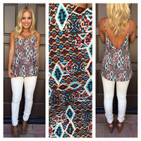 Aqua Diamond Print Low Back Tank