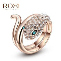 Women's Seductive Snake Green CZ 18K Rose Gold Infusion Fashion Ring