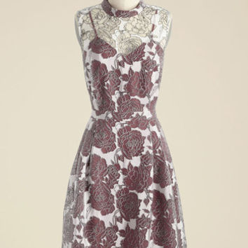 Unfalteringly Feminine Floral Dress in Ruby | Mod Retro Vintage Dresses | ModCloth.com