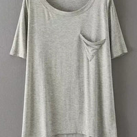 Light Grey Short Sleeve Triangle Pocket Modal T-shirt