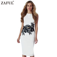 ZAFUL Women Bodycon Dresses Vintage Elegant Sleeveless Print Tunic Belted White Work Bussiness Pencil Dress Female Vestidos