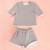 Two piece grey sweatsuit