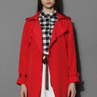 Inspirational Waterfall Trench Coat in Ruby Red