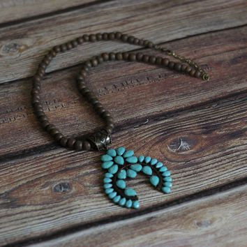 'Wooded Tribe' Squash Blossom Necklace - Turquoise