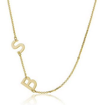 Sideways Two Letter  Initial Necklace  - 18K Gold Plated .925 Sterling Silver