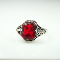 Vintage Ring Clark and Coombs Sterling Silver Red Glass Antique Jewelry