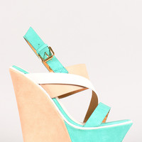 Sannede-1 Color Block Strappy Platform Wedge