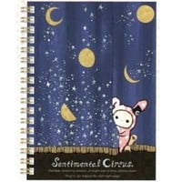 San-X Sentimental Circus Midnight A6 Hard Cover Spiral Notebook: Blue Curtain