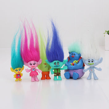 6Pcs/Set 2-6cm Trolls figures Movie Figure Collectible Dolls Poppy Branch Biggie PVC Trolls Action Figures toys children gift