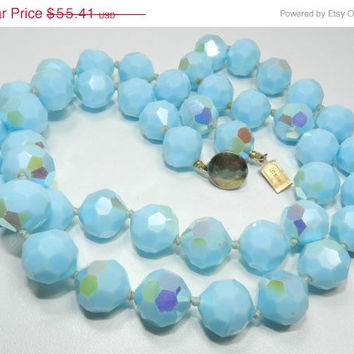 15% OFF SALE Mid Century SIGNED Les Bernard Robin Egg Blue Double Knotted Glass Bead Necklace