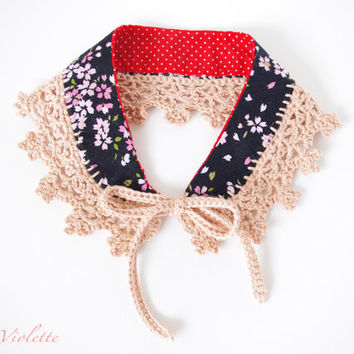 Peter Pan Collar crochet Lace Japanese fabric Pink Black Necklace Handmade