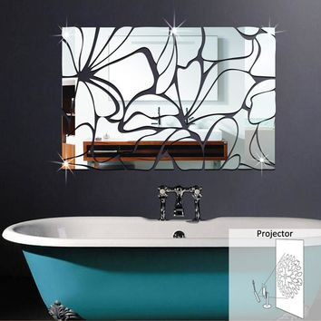 3D Home Decoration Waist Line Acrylic Mirror Wall Stickers Modern Design Living Room Home Decor Sticker Toilet Sticker
