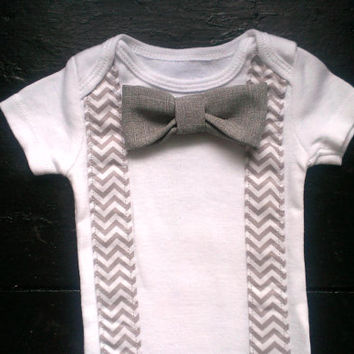 Baby boy bodysuit or t-shirt chevron suspenders and snap on bow tie, newborn, take home, holiday