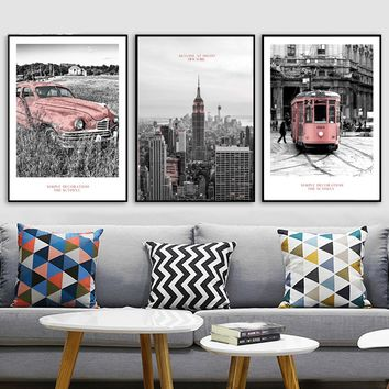 New York Empire State Building Vintage Wall Art Canvas Painting Nordic Poster And Prints Wall Pictures For Living Room Home Deco