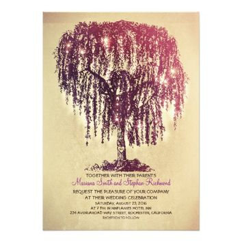 Vintage String Lights Tree Rustic Wedding Invites