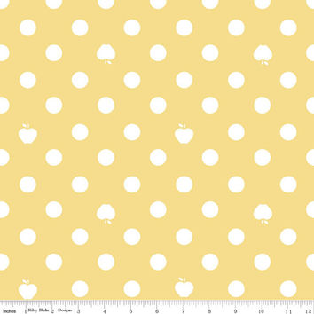 1 yard Yellow, White, Polka Dot and Apple Cotton Fabric, Riley Blake Designs Apple of my Eye by Quilted Fish