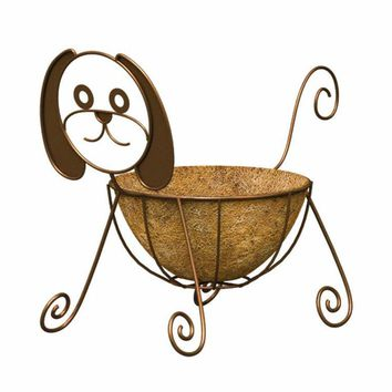 Panacea™ 86656 Dog Design Planter with Coco Liner, Rust