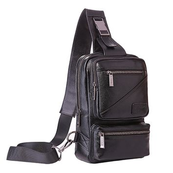 First Layer Cowhide Single Chest Back Day Pack Travel Famous Riding Men Genuine Leather Sling Cross Body Messenger Shoulder Bag