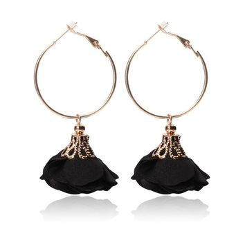 Gold color Circle Yarn Fabric Cloth Flower Handmade Craft Hanging Dangle Drop Earrings For Women Ladies Statement Jewelry