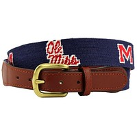 Ole Miss Needlepoint Belt in Navy and Crimson by Smathers & Branson
