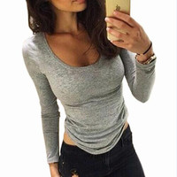 Women T-shirt 2017 Autumn New Arrival Sexy Casual Style Women Fashion Slim Long Sleeve O-neck Solid Gray shirts Tops X0323
