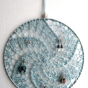 Earring Holder Display / Jewelry Organizer Stud Post & Dangle / Dreamcatcher - Light Beachy Blue