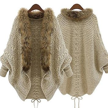Women Faux Fur Collar Batwing Sleeve Loose Casual Warm Cardigan Shawl Sweater