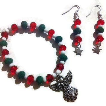 Christmas Angel Jewelry Set, Christmas gifts, holiday jewelry, red and green, angel jewelry, stocking stuffers, gifts for her, jewelry sets
