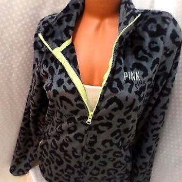 victoria secret pink LEOPARD FLEECE PLUSH JACKET NWT! XS LIMITED EDITION