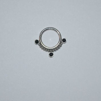 2mm Onyx Septum Ring - Silver Nose Ring - Hoop Earring, tragus/cartilage/helix piercing 16g, nose stud 16 gauge