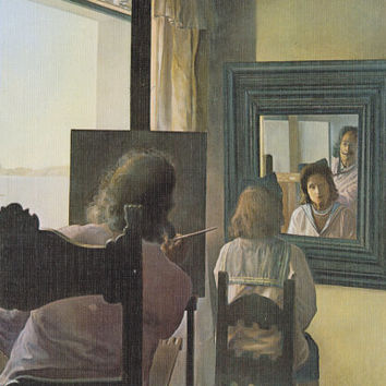 """Vintage Spanish Postcard -- Salvador Dali """"First stereoscopic painting, six pupils, one actual and four virtual mirrors"""" (Fragment) -- 1971"""