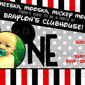 Mickey Mouse First Birthday Birthday Invitation - Printable