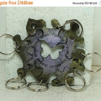 Fall Sale Puzzle Key chains set of 6 best friend key chains 6 piece leather set Purple and citrine
