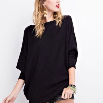Emma Off The Shoulder Thermal Sweater - Onyx