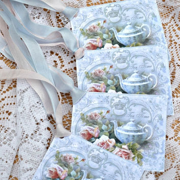 SALE 40% SUMMER SIZZLER Elegant Tea Time Xl Tags with Ribbon Set of 6