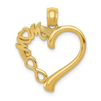 14k Yellow Gold Mom on Heart with Infinity Symbol Pendant, 18mm