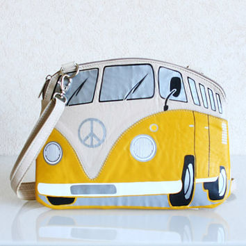 VW Purse Yellow and Beige Leather Purse