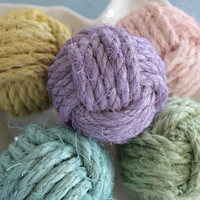 Rustic/shabby Easter decor/ decorative rope balls set of 5/monkey fist knot