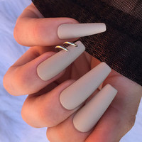 Matte Nude Pierced Nails, set of 24 long coffin nails