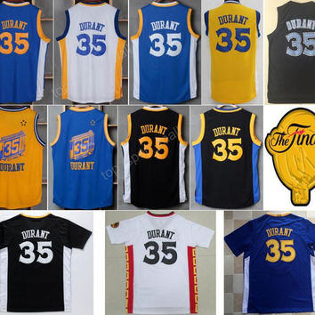 Throwback 35 Kevin Durant Jersey 2017 Final Patch Chinese Basketball Jerseys Kevin Durant High School Oak Hill Uniforms Blue White