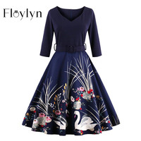 FLOYLYN New Women Dress 2017 Half Sleeve Print Plus Size Swing Vintage Dress Wine Red Navy Blue Elegant Black Dresses