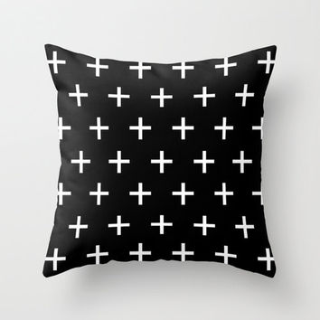 Black and White Pillow - Swiss Cross Pillow - Modern Decorative Pillows - Black - Velveteen Pillow Cover - Modern Home Decor - Gift Ideas