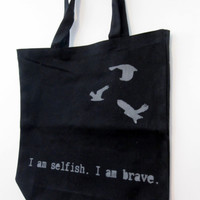 Divergent Tris Quote and Birds Book Bag by RaeGun on Etsy